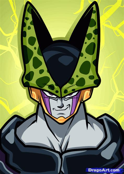 How to Draw Cell Easy, Dragon Ball Z, Step by Step, Dragon