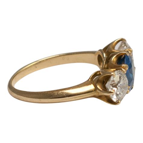 Antique Sapphire and Diamond 3 Stone Ring - SOLD - Plaza
