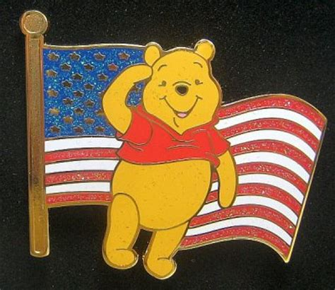 Winnie the Pooh Old Glory American flag pin from our Pins