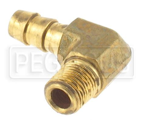 1/8 NPT to 5/16 (8mm) Hose Barb Fitting, Brass - Right