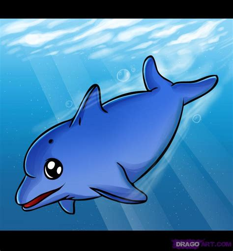 How to Draw a Dolphin, Step by Step, Sea animals, Animals