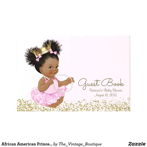 African American Princess Baby Shower Guest Book | Zazzle