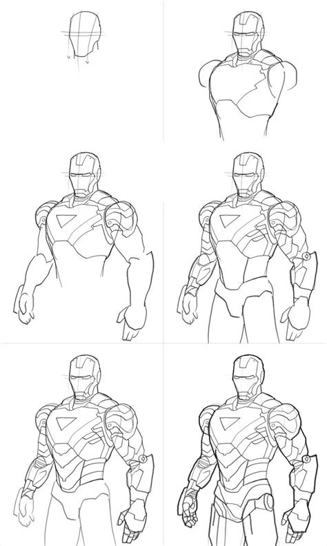 drawing ironman step by step - Google Search   Marvel