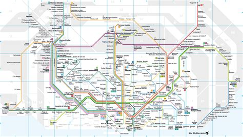 Map of Barcelona commuter rail (rodalies): stations & lines