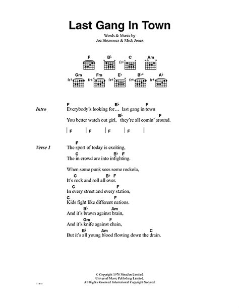 Last Gang In Town sheet music by The Clash (Lyrics